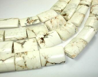 White Howlite Beads, 22 x 30 mm Flat Tube Beads, 16 Inch, Full strand, 13 beads, Hole 1 mm (275035001)