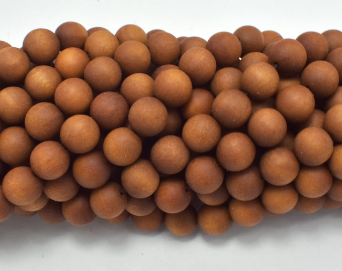 Matte Sandalwood Beads, 8mm Round Beads, 35 Inch, Full strand, Approx 108 Beads, Mala Beads (011747004)