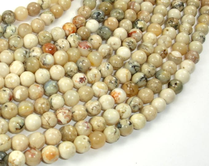 African Opal, 6mm (6.2mm) Round Beads, 15.5 Inch, Full strand, Approx 66 beads, Hole 1 mm, A quality (107054001)
