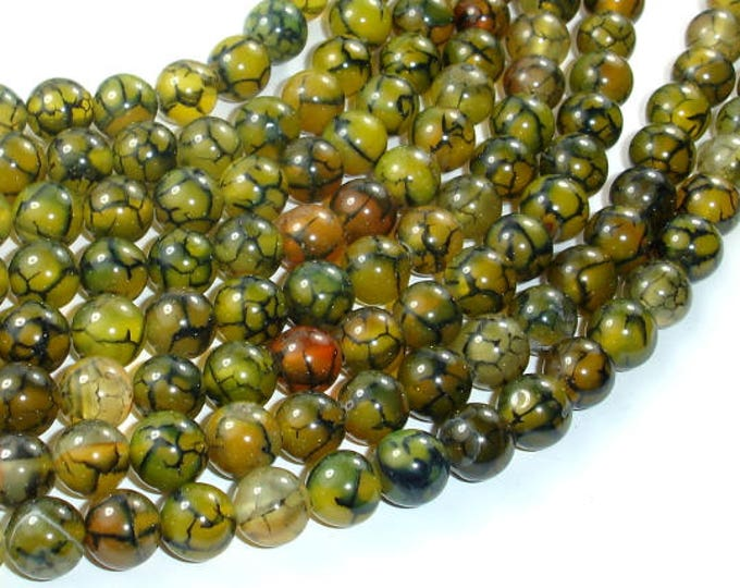 Dragon Veins Agate Beads, 8mm, Round Beads, 15.5 Inch, Full strand, Approx 48 beads, Hole 1 mm (122054142)