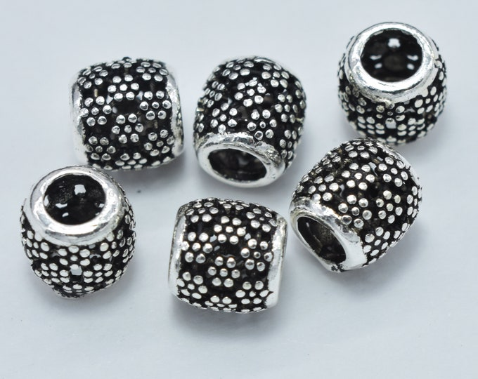 4pcs 925 Sterling Silver Beads-Antique Silver, Drum Beads, Spacer Beads, 6x6mm, Hole 3mm (007903021)