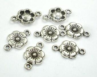 Metal Links, Flower Connector Links, Zinc Alloy, Antique Silver Tone, 10x18xmm, 30 pcs, Hole 1.4mm (006855009)
