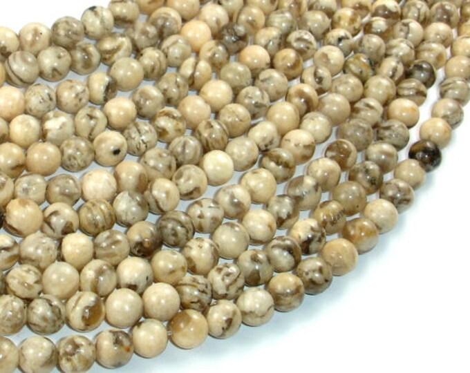 Feldspath Beads, Tiger Jasper Beads, 6mm(6.3mm), 15 Inch, Full strand, Approx 64 beads, Hole 0.8mm (424054008)