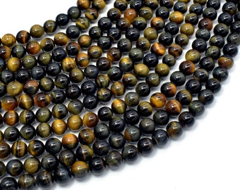 Blue / Yellow Tiger Eye, 6mm (6.3mm) Round Beads, 15.5 Inch, Full strand, Approx 62-64 beads, Hole 0.8mm, A+ quality (426054036)
