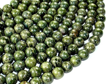 Alligator Skin Jasper Beads, Green Brecciated Jasper, Round, 10mm, 15.5 Inch, Full strand, Approx 39 beads, Hole 1 mm, A quality (288054020)