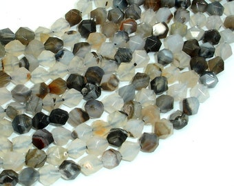 Agate Beads, 8mm Star Cut Faceted Round, 14.5 Inch, Full strand, Approx 47 beads, Hole 1mm (122186001)