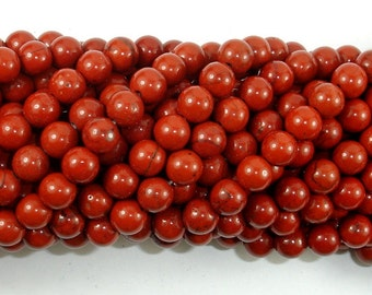 Red Jasper Beads, 6mm (6.5mm) Round Beads, 15.5 Inch, Full strand, Approx 61 beads, Hole 1 mm (371054009)