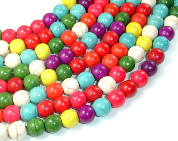 Howlite Beads, Multicolored, Round, 8mm, 15.5 Inch, Full strand, Approx 54 beads, Hole 1.2 mm (275054010)