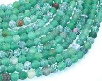 Frosted Matte Agate - Green, 6mm Round Beads, 15 Inch, Full strand, Approx 63 beads, Hole 1 mm (122054204)