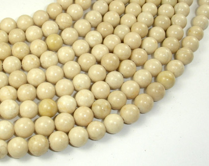 White Fossil Jasper Beads, 8mm (8.5mm) Round Beads, 15 Inch, Full strand, Approx 46 beads, Hole 1mm (220054008)