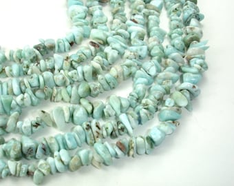 Larimar Beads, Chips, Approx 4mm - 9mm, 35 Inch, Full long strand, Hole 1 mm (299005001)