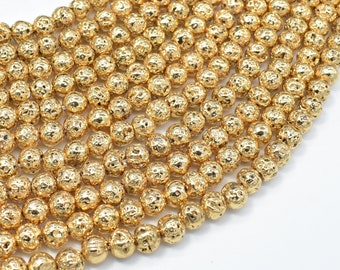 Lava-Gold Plated, 6mm (6.6mm) Round Beads, 15.5 Inch, Full strand, Approx 65 beads, Hole 1mm (300054058)