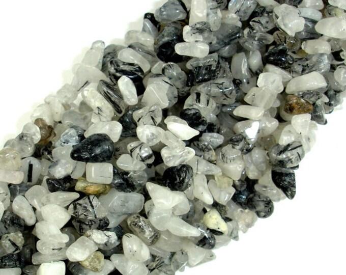 Black Rutilated Quartz, 4mm - 9mm Chips Beads, 34 Inch, Long full strand, Hole 0.8 mm (143005001)