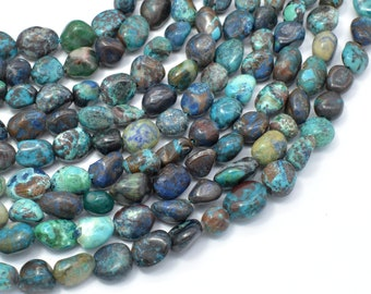 Chrysocolla-Natural , Approx 6x8mm Nugget Beads, 15.5 Inch,Full strand, Approx 48-52 beads, Hole 1mm (196047004)