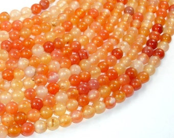 Carnelian Beads, Orange, 6mm (6.4mm) Round Beads, 15.5 Inch, Full strand, Approx 65 beads, Hole 1mm (182054028)