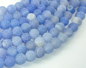 Frosted Matte Agate - Blue, 10mm Round Beads, 15 Inch, Full strand, Approx 39 beads, Hole 1 mm (122054239)