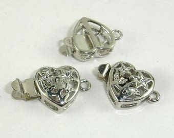 Heart Filigree Box Clasps- 1 strand , Rhodium Plated, 11x11mm, 4pcs (006854014)
