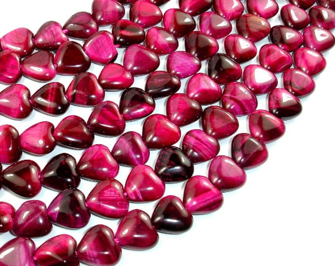 Tiger Eye - Fuchsia, 10 x 10mm Heart Beads, 15 Inch, Full strand, Approx 41 beads, Hole 1 mm (426040001)