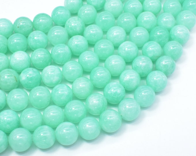 Jade Beads-Light Green, 10mm Round Beads, 15 Inch, Full strand, Approx 38 beads, Hole 1mm (211054198)
