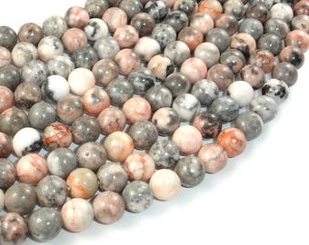 Pink Zebra Jasper, 8mm (8.5mm) Round Beads, 15.5 Inch, Full strand, Approx 47 beads, Hole 1 mm (352054001)