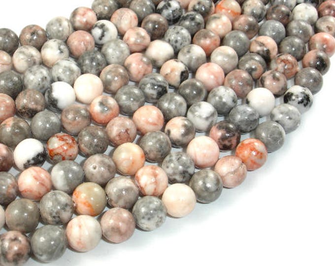 Pink Zebra Jasper, 8mm (8.5mm) Round Beads, 15.5 Inch, Full strand, Approx 47 beads, Hole 1 mm (352054001)