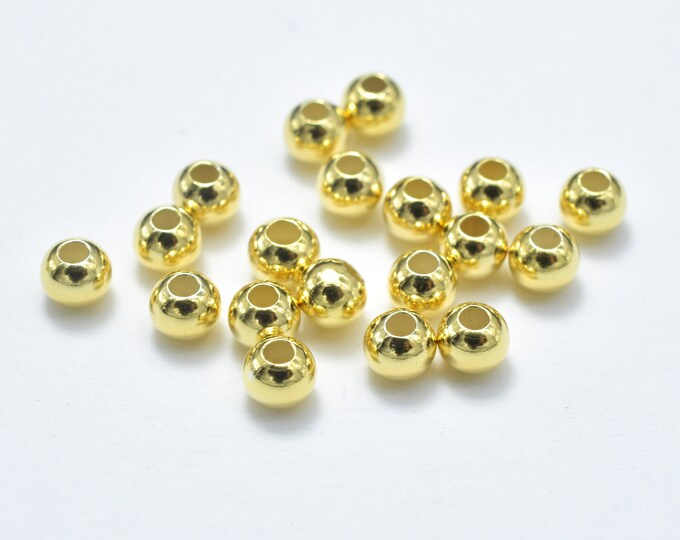 30pcs 24K Gold Vermeil 3mm Round Beads, 925 Sterling Silver Beads, Hole 1.1mm (007903024)