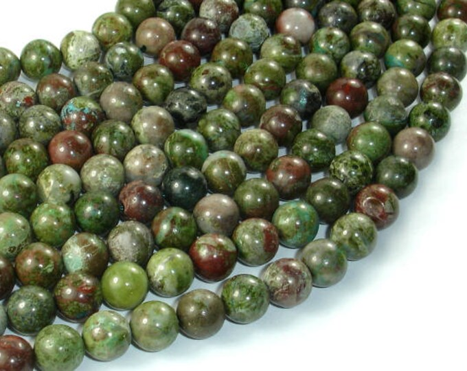 Green Rainforest Jasper Beads, Cuprite, 8mm(8.5mm) Round Beads, 15.5 Inch, Full strand, Approx 47 beads, Hole 1mm, A quality (262054002)