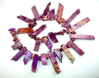 Impression Jasper Beads, Sea Sediment Jasper Beads, (9-10)x(18-50)mm Stick with Nugget Beads , 15 Inch, Full strand, Hole 1 mm (281059002)