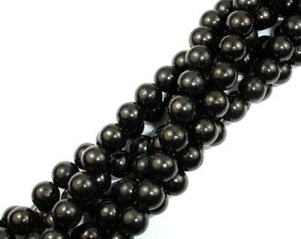 Jet Gemstone Beads, Round, 8mm, 16 Inch, Full strand, Approx 50 beads, Hole 1 mm (289054002)