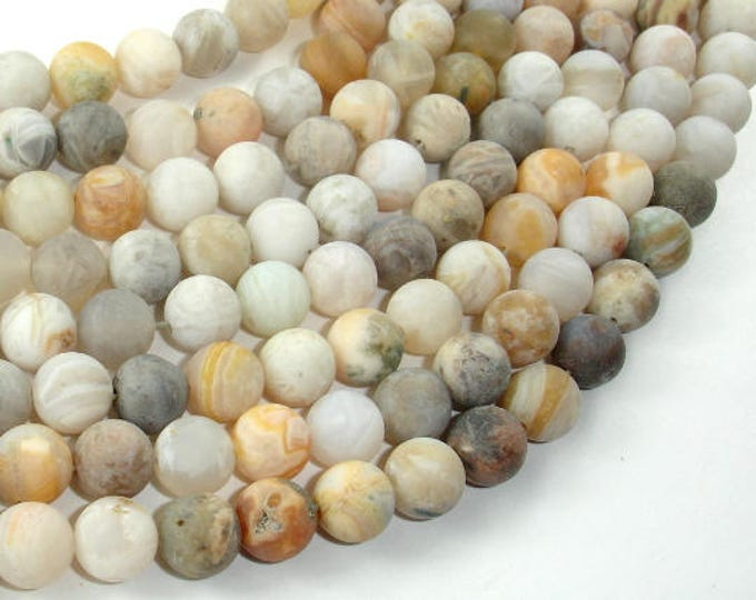 Matte Bamboo Leaf Agate, 8mm (8.5mm) Round Beads, 15 Inch, Full strand, Approx 45 beads, Hole 1mm (131054005)