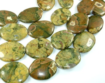 Rhyolite Beads, 24x32mm-26x34mm Irregular Oval Beads, 16 Inch, Full strand, Approx 12 beads, Hole 1.5mm (387030007)