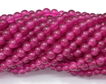 Jade Beads-Fuchsia, 6mm (6.3mm) Round Beads, 15 Inch, Full strand, Approx 66 beads, Hole 1mm (211054187)