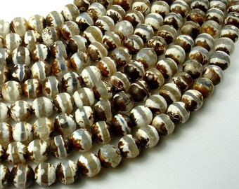 Tibetan Agate Beads, 8mm Faceted Round Beads, 14 Inch, Full strand, Approx 47 beads, Hole 1 mm (122025290)