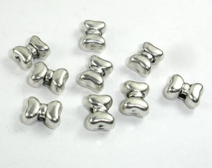 Bow Tie Spacer, Zinc Alloy, Antique Silver Tone, 10x7x5mm, 20 pcs, Hole 1.8mm (006852056)