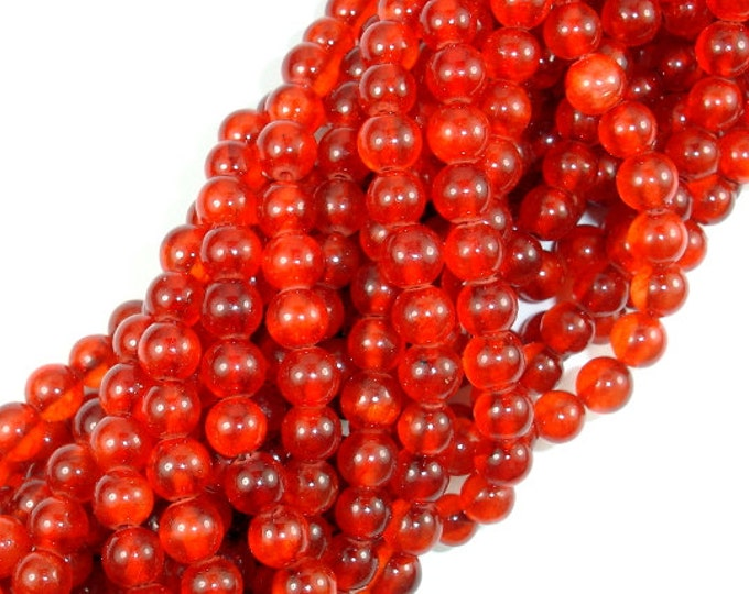 Dyed Jade-Orange Red, 6mm Round Beads, 15.5 Inch, Full strand, Approx 65 beads, Hole 1 mm, A quality (211054132)