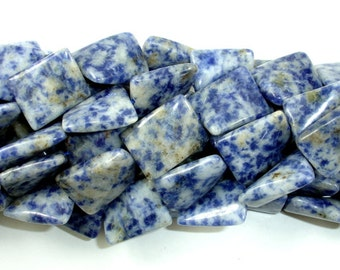 Blue Spot Jasper Beads, Twisted Rectangle, Approx 15 x 20mm, 15.5 Inch, Full strand, Approx 20 beads, Hole 1 mm (153071001)