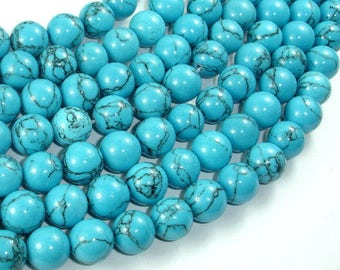 Howlite Turquoise Beads, 10mm Round Beads, 15.5 Inch, Full strand, Approx 40 beads, Hole 1mm, A quality (213054017)
