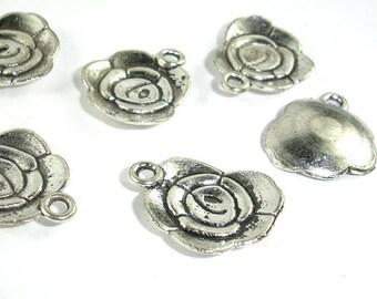 Flower Charms, Zinc Alloy, Antique Silver Tone, 14x18 mm, 20 pcs, Hole 1.8mm (006873036)