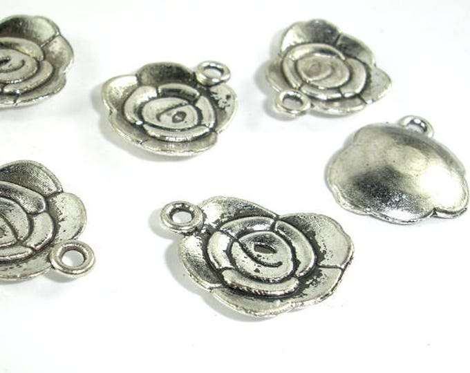Flower Charms, Zinc Alloy, Antique Silver Tone, 14x18 mm, 20 pcs, Hole 1.8mm (006873036)