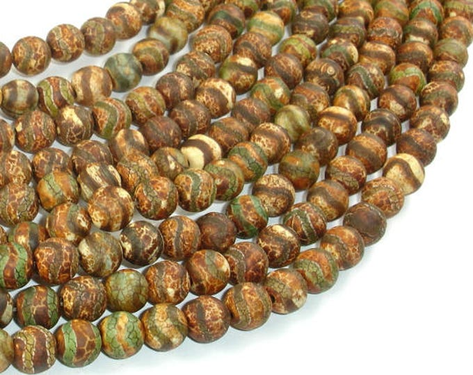 Crackle Tibetan Agate, 8mm Round Beads, 14.5 Inch, Full strand, Approx 48 beads, Hole 1.2mm (122054270)