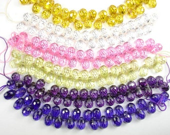 CZ beads, Cubic Zirconia Beads, 6 x 9 mm Faceted Teardrop Beads, 4 Inch, 1 strand, 30 beads, Hole 0.8 mm, A quality (DR0609)