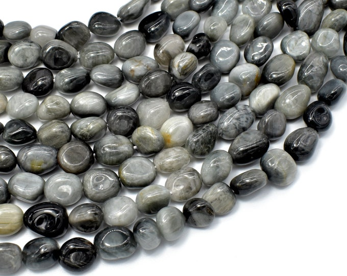 Hawk Eye Beads, Approx 6x8mm Nugget Beads, 15.5 Inch,Full strand, Approx 46-52 beads, Hole 1mm (274047001)