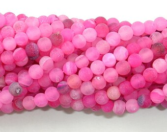 Frosted Matte Agate - Pink, 4mm(4.3mm) Round Beads, 15.5 Inch, Full strand, Approx 95 beads, Hole 0.8mm (122054254)