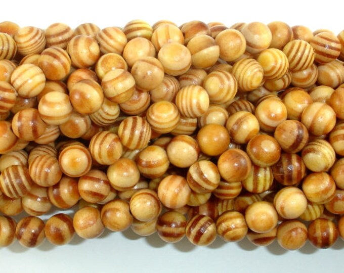 Indonesia Agathis Alba King Wood Beads, 8mm(8.5mm) Round, 35 Inch, Full strand, Approx 108 Beads, Mala Beads (011736002)