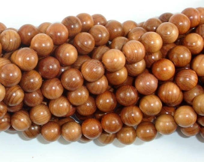 Taxus Chinensis Wood Beads, 8mm(8.3mm) Round Beads, 34 Inch, Full strand, Approx 108 Beads, Mala Beads (011740001)