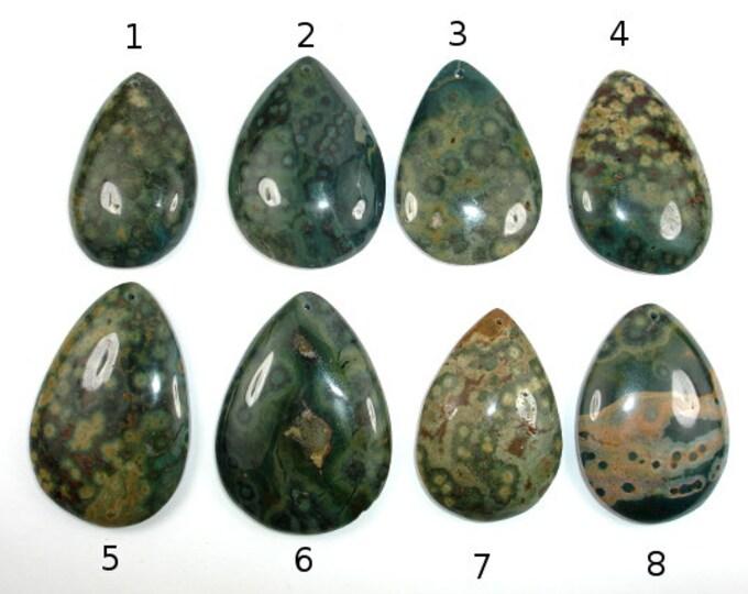 Natural Ocean Jasper Pendant, Flat Teardrop Pendant, Flat Back, 1 piece, Hole 1mm (PNDT10)