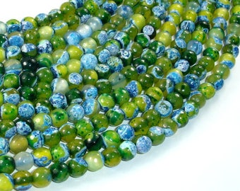 Agate Beads, Blue & Green, 6mm Faceted Round Beads, 14 Inch, Full strand, Approx 62 beads, Hole 1mm (122025305)