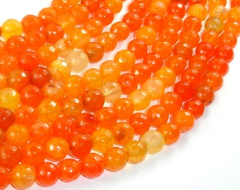 Dragon Vein Agate Beads, Orange, 8mm Faceted Round Beads, 15.5 Inch, Full strand, Approx 48 beads, Hole 1mm (122025148)