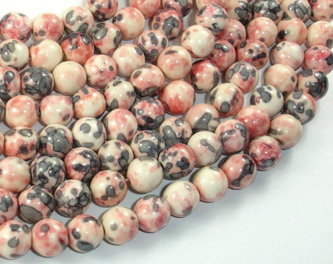 Rain Flower Stone Beads, Pink, Gray, 8mm (8.5mm) Round Beads, 15.5 Inch, Full strand, Approx 48 beads, Hole 1mm, A quality (377054039)