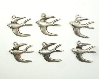 Swallow Charms, Bird Charms, Zinc Alloy, Antique Silver Tone, 23x18 mm, 20 pcs, Hole 1.8mm (006873078)